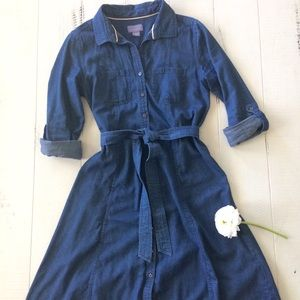 Dresses & Skirts - Chambray Denim Shirt Dress with Tie